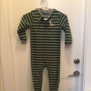 5 yr Boys Green Striped Dog Onesie Footsie Pajama